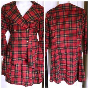 Asymmetrical Red Plaid Double-breasted Jacket - 2X